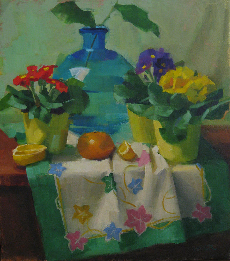 Flowers Painting - Primroses And Turquoise Vase by Kathleen Weber
