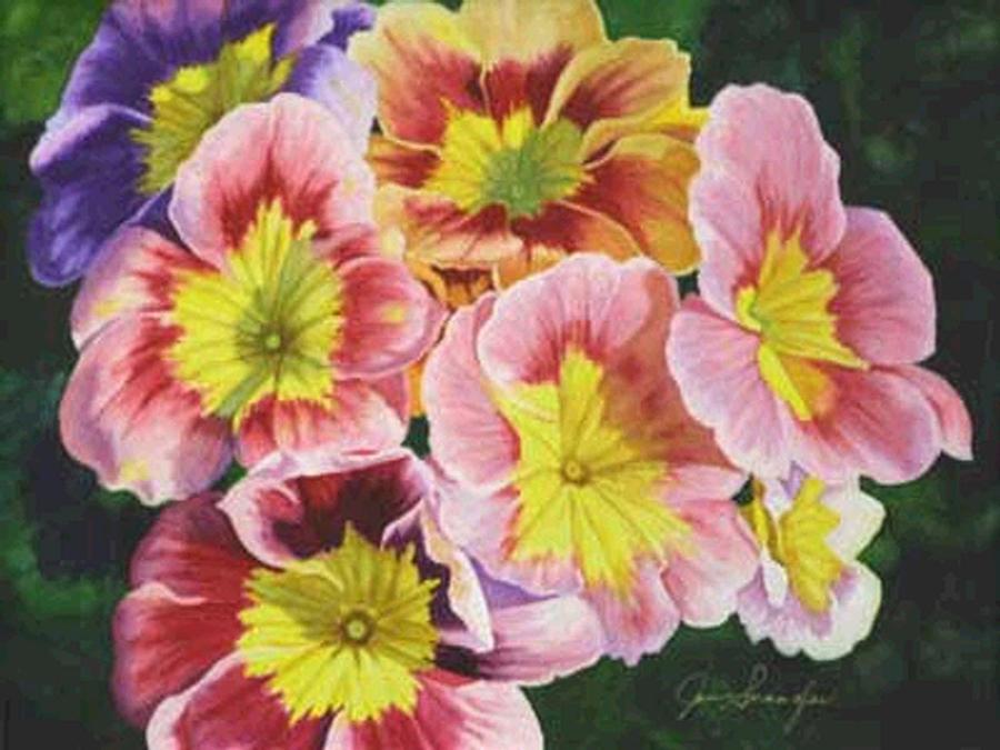 Watercolor Painting - Primroses by Jan  Spangler
