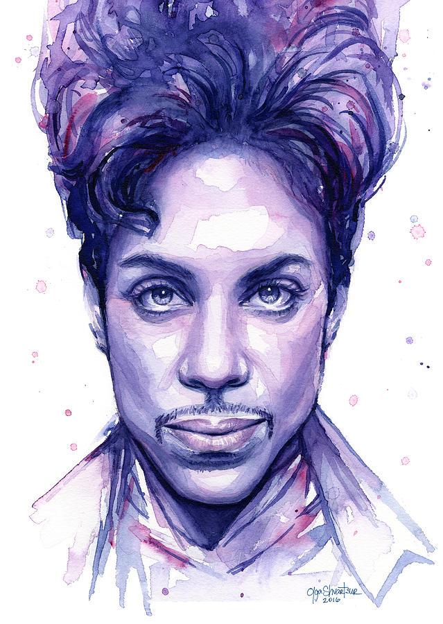 Watercolor Painting - Prince Purple Watercolor by Olga Shvartsur