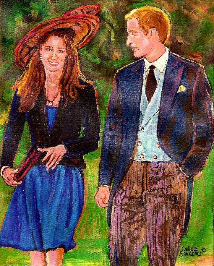 Wills And Kate Painting - Prince William And Kate The Young Royals by Carole Spandau