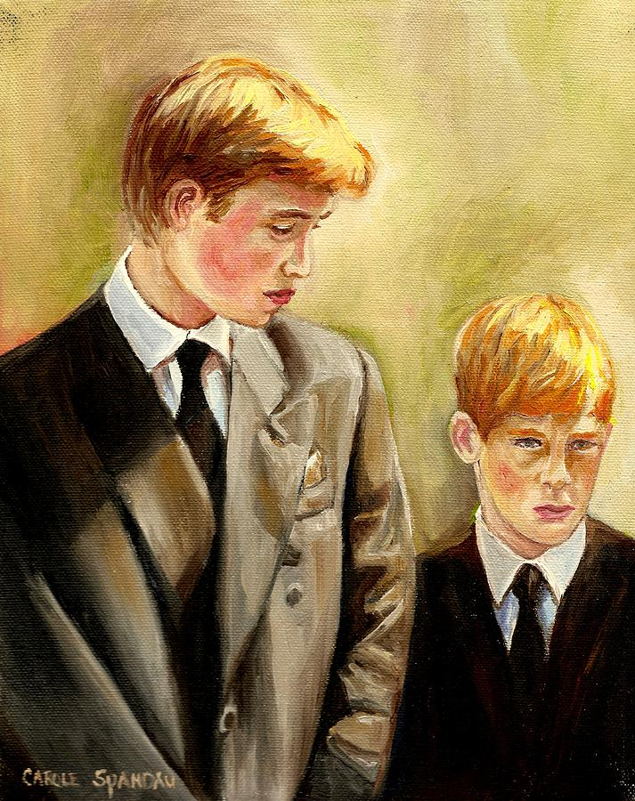 Prince William And Prince Harry Painting - Prince William And Prince Harry by Carole Spandau