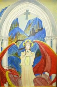 Fantasy Painting - Princess And The Dragon Beautifully Framed by Christine Ward