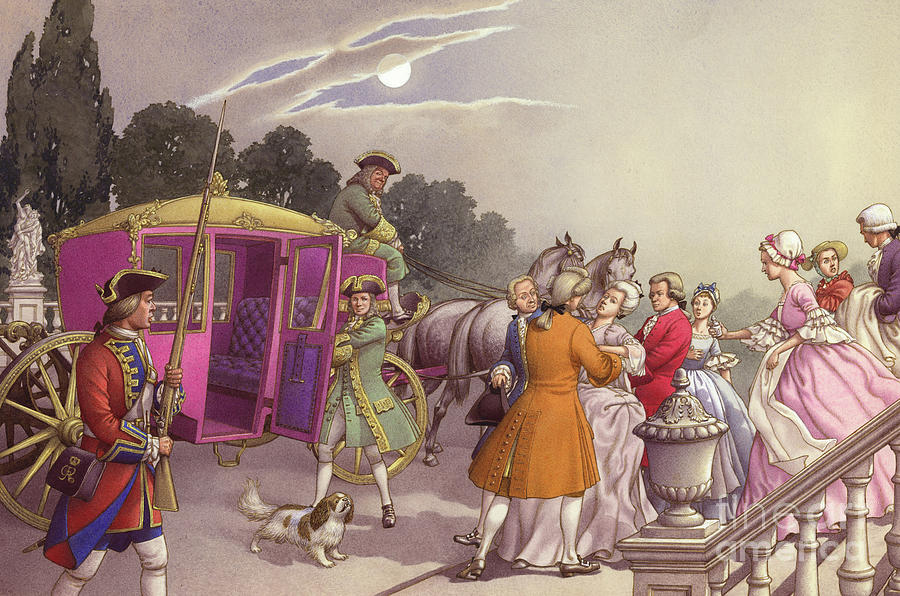 Prince Frederick Painting - Princess Augusta, About To Give Birth, Was Bundled Into A Coach by Pat Nicolle
