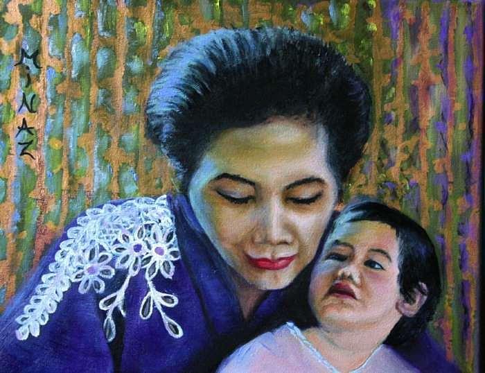 Princess Benjawan Chakrabandu And Grandaughter Painting by Minaz Jantz