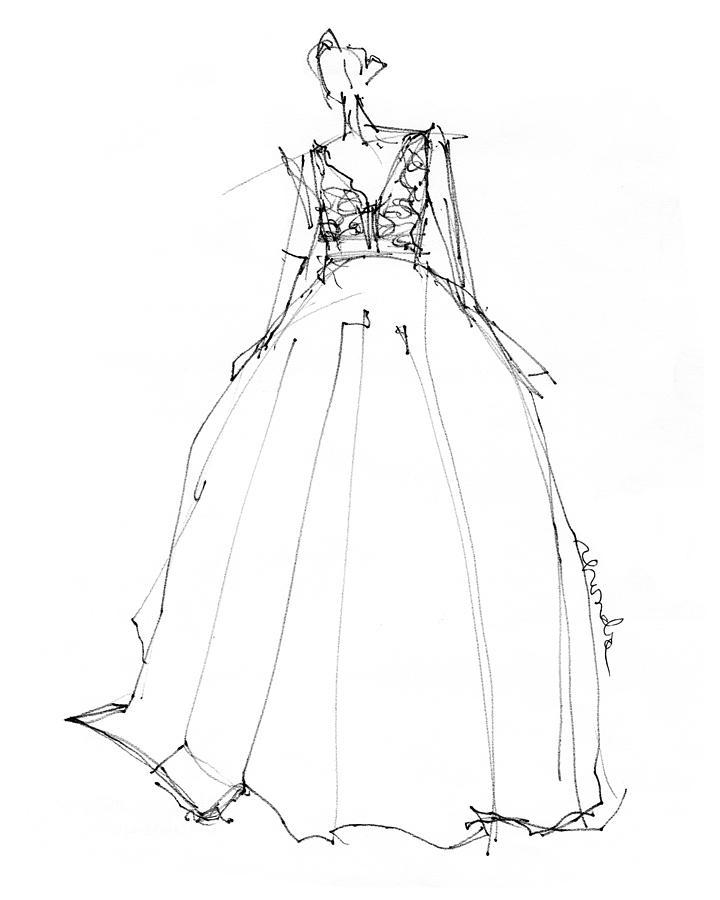 princess gown drawing by rhonda corley