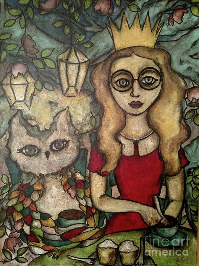 princess in glasses woodland tea party painting by chris jeanguenat