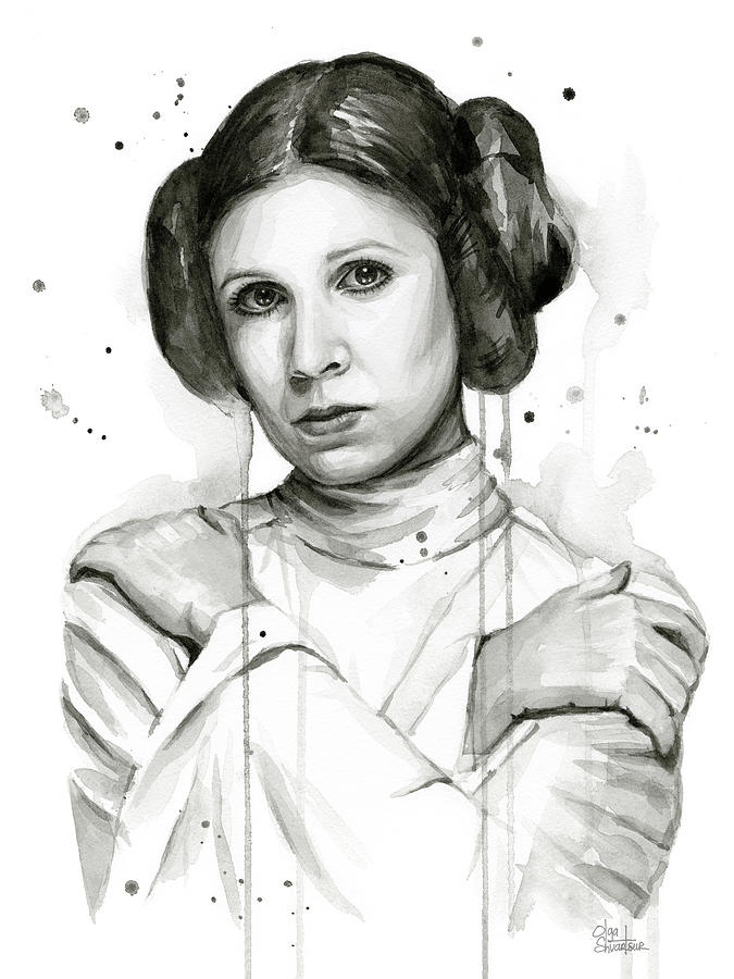 Leia Painting - Princess Leia Portrait Carrie Fisher Art by Olga Shvartsur