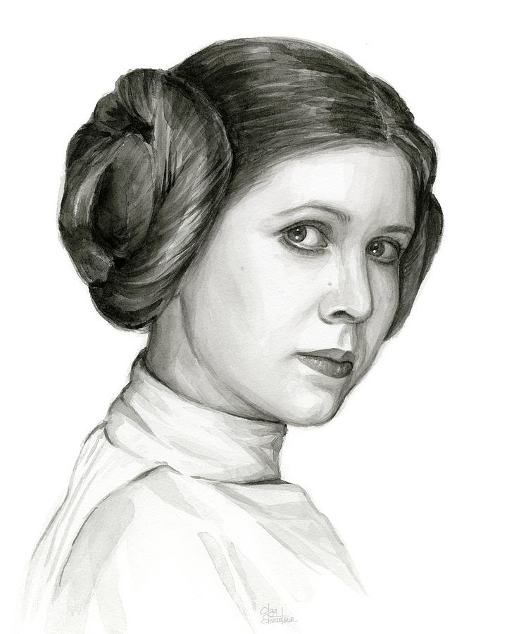 Leia Painting - Princess Leia Watercolor Portrait by Olga Shvartsur