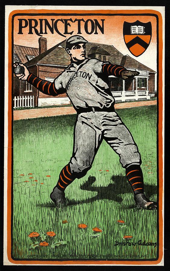 Princeton - Baseball - Bristo Adams - Vintage Sports Poster Mixed Media