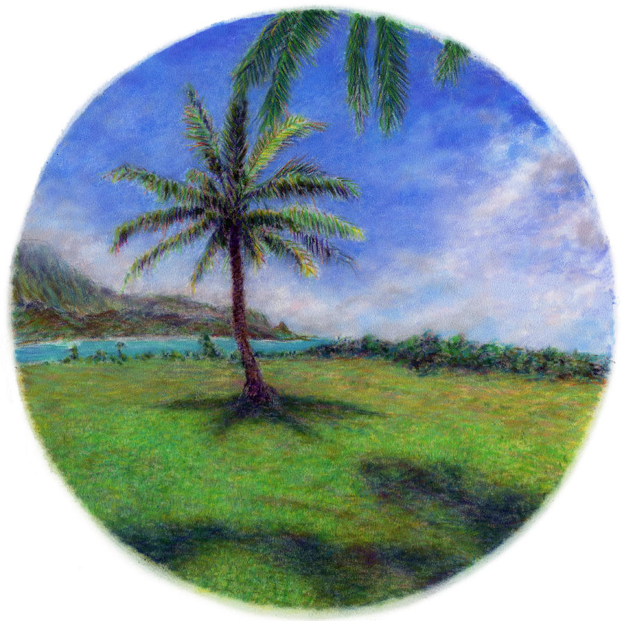 Rainbow Colors Pastel Painting - Princeville Palm by Kenneth Grzesik
