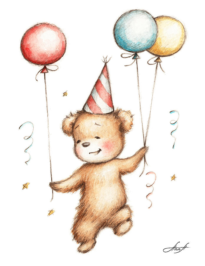 Print Of Teddy Bear With Balloons