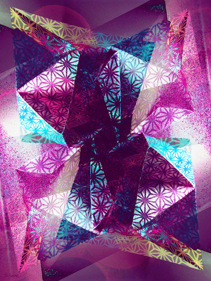 Origami Paper Photograph - Prismatic Vision - Darker Version by Shawna Rowe