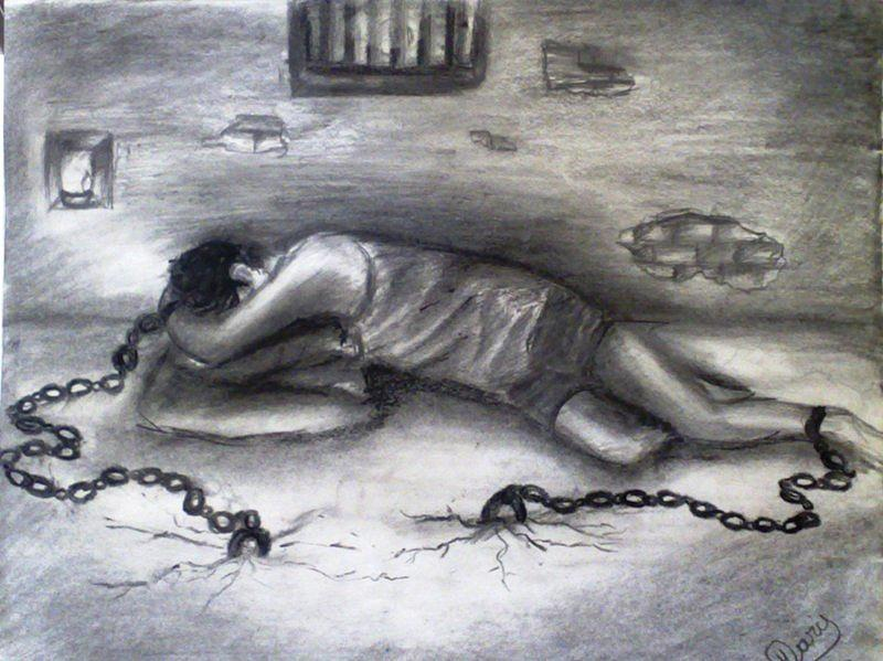 Conceptual Painting - Prison Of Life by Haris Imtiyaz khan