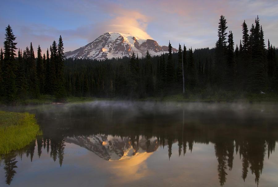 Rainier Photograph - Pristine Reflections by Mike  Dawson