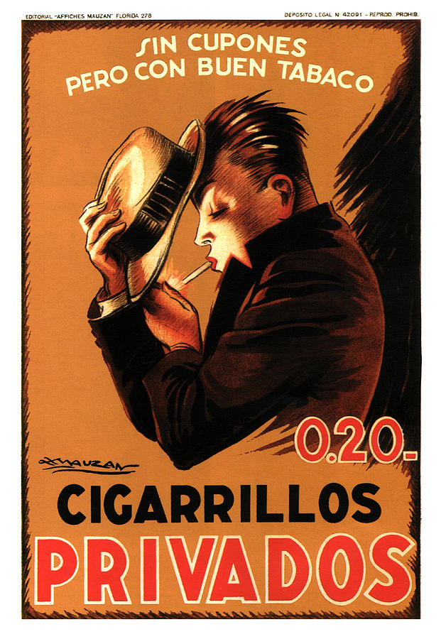 Privados Cigarrillos - Cigarettes - Vintage Tobacco Advertising Poster By Achille Mauzan Mixed Media