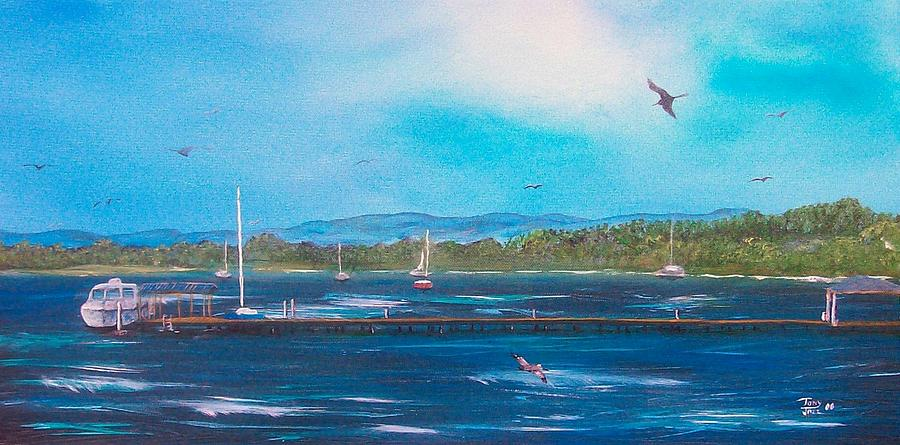 Seascape Painting - Private Dock by Tony Rodriguez