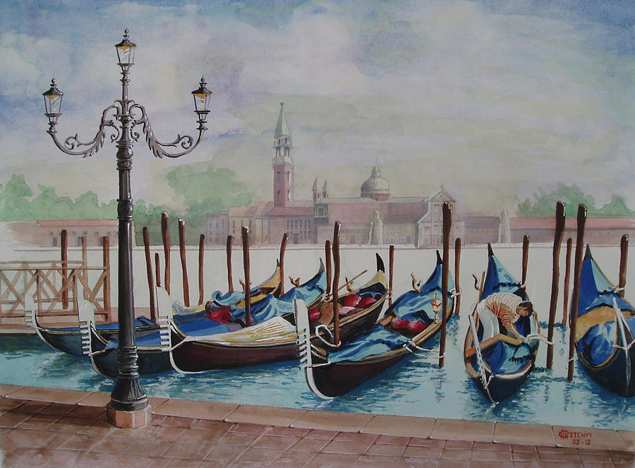 Gondolas Painting - Parking Gondolas In Venice by Charles Hetenyi