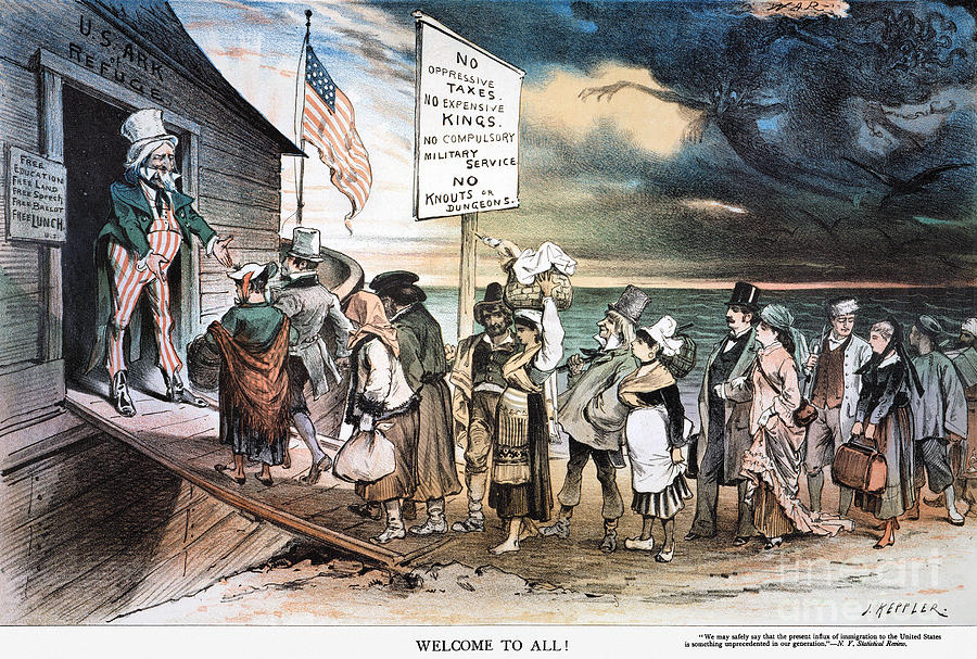 proimmigration cartoon photograph by granger