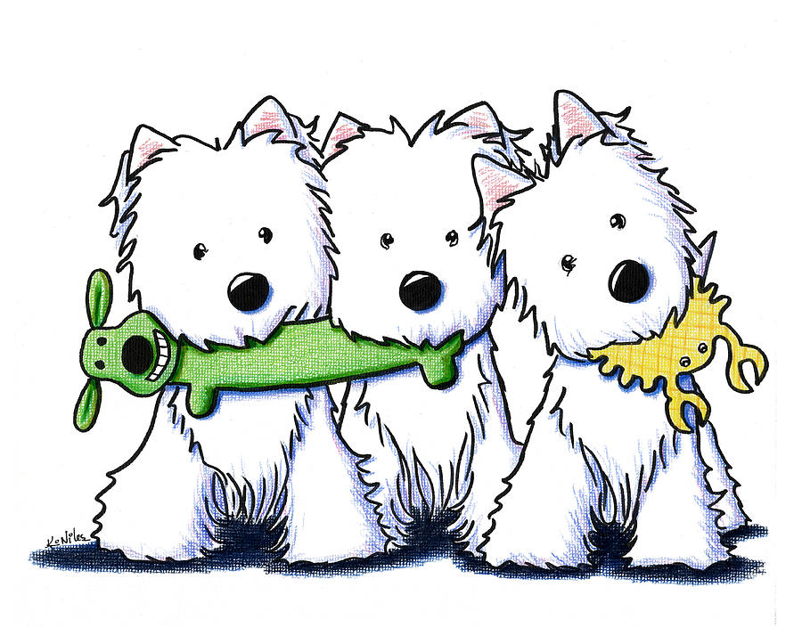 Westie Terrier Drawing - Pro Players by Kim Niles