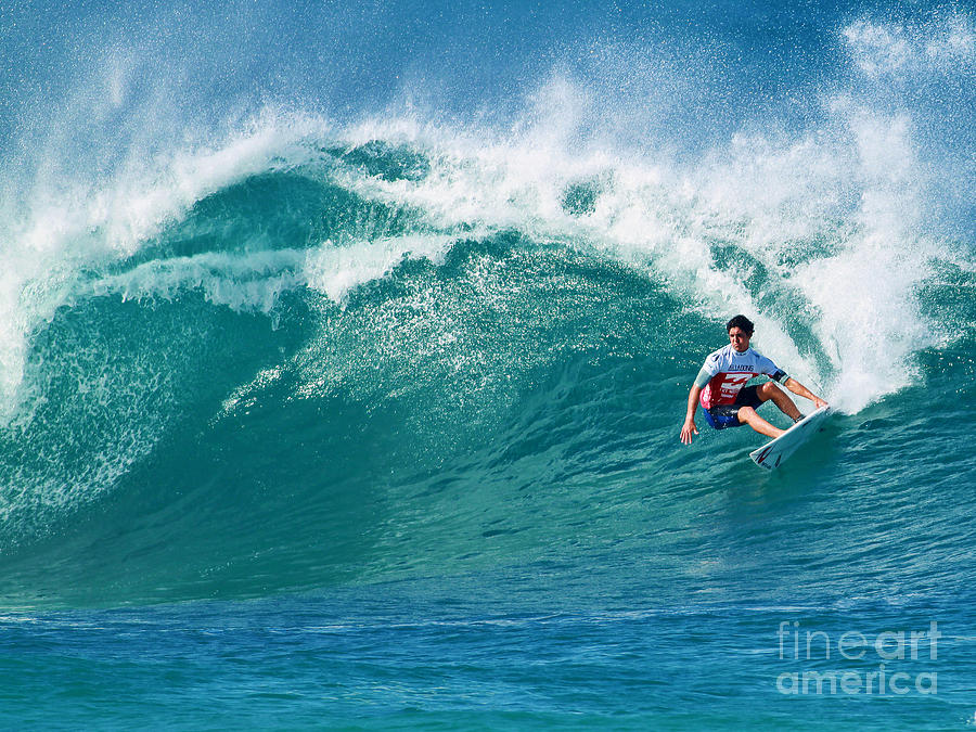 Pipeline Photograph - Pro Surfer Gabriel Medina Surfing In The Pipeline Masters Contes by Paul Topp