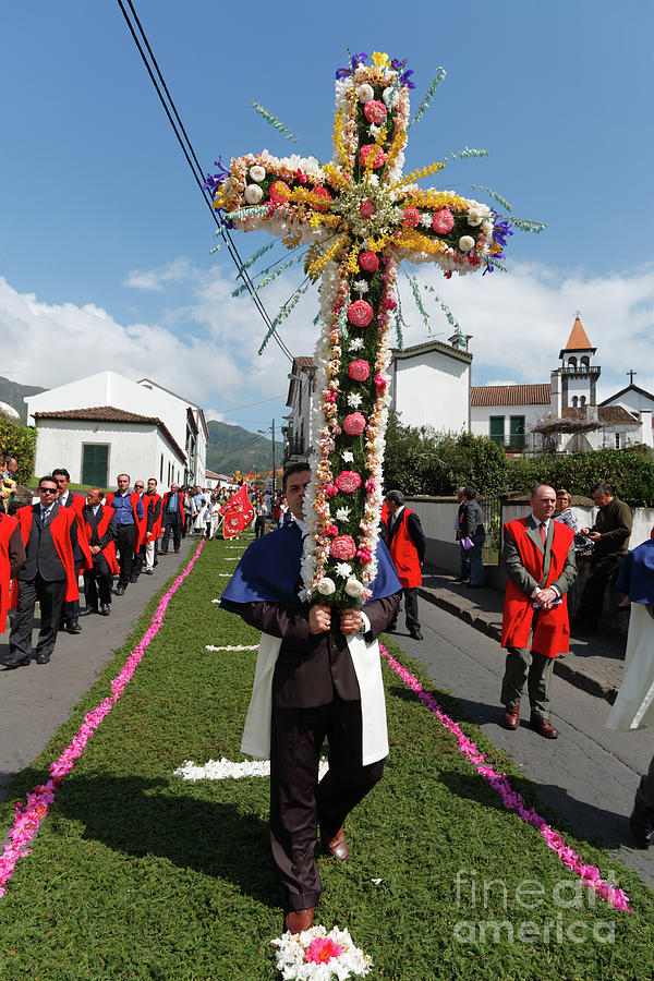 Cross Photograph - Procession In Furnas - Azores by Gaspar Avila