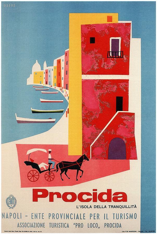 Procida Mixed Media - Procida - Naples, Italy - The island of Tranquility - Retro travel Poster - Vintage Poster by Studio Grafiikka