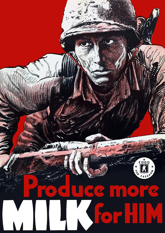 Produce More Milk For Him - Ww2 Painting