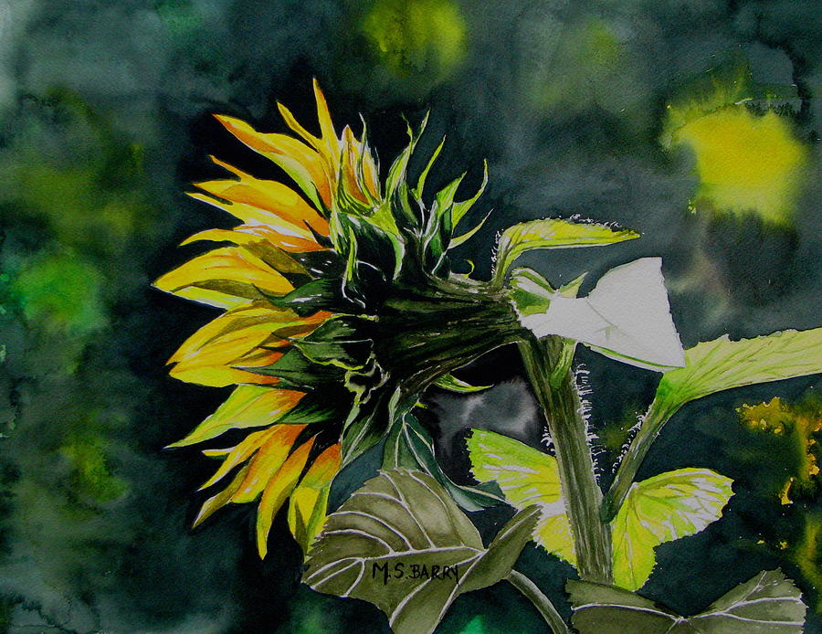 Sunflower Painting - Profile by Maria Barry