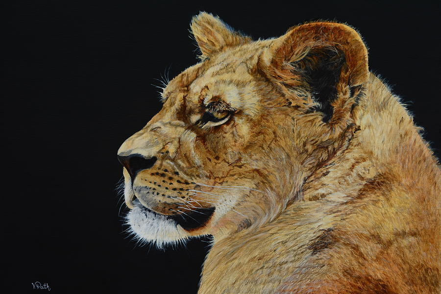 Lioness Painting - Profile Of A Lioness by Vicky Path