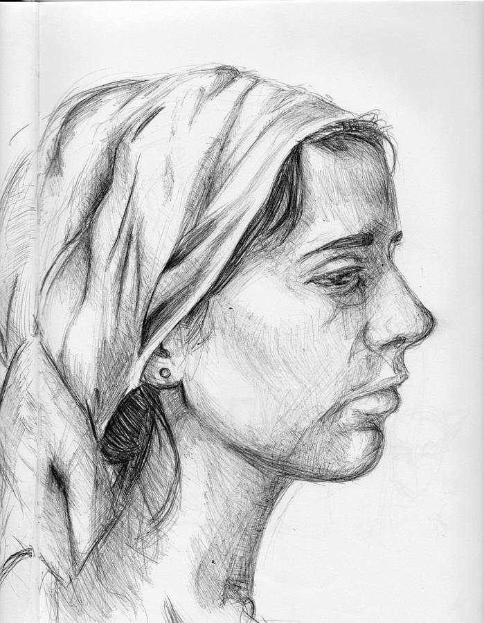 Profile Of A Woman Drawing By Leonardo Alexander