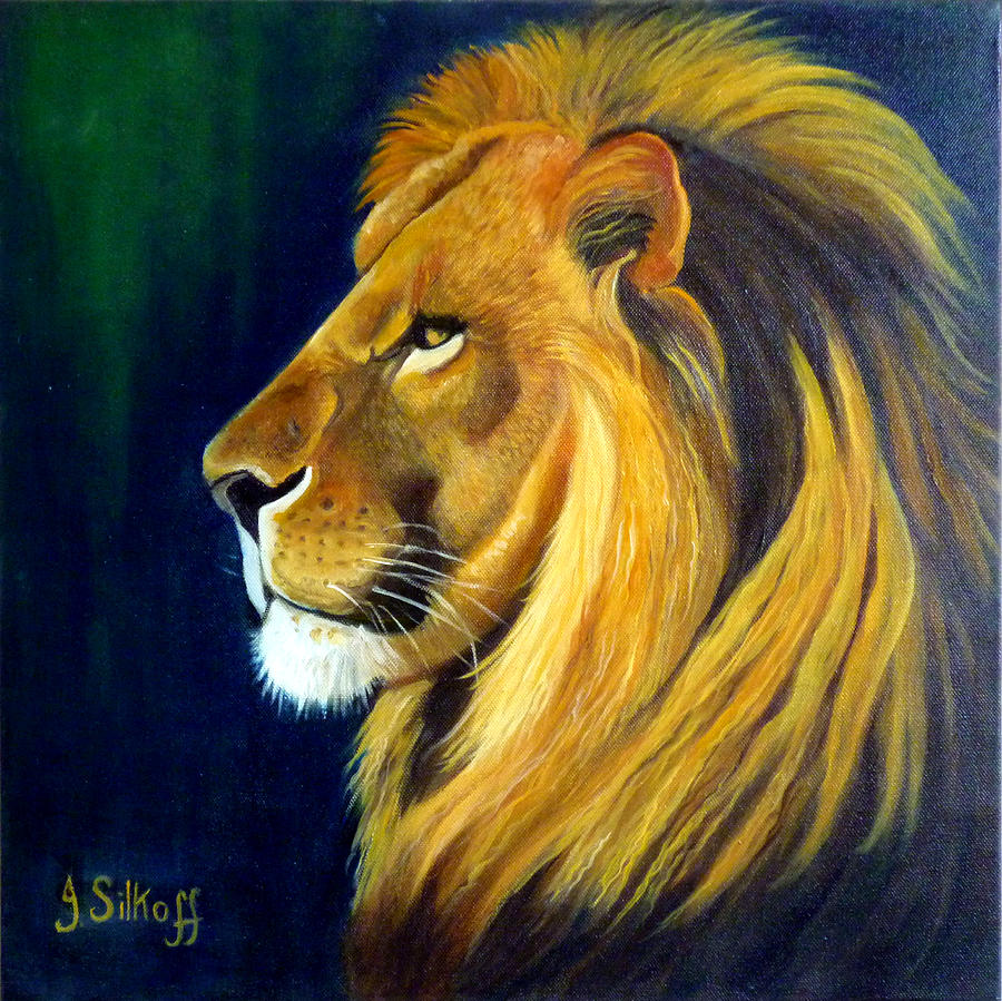 Lion Painting - Profile Of The King by Janet Silkoff