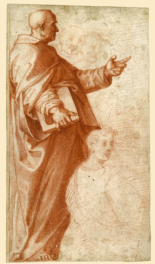 Baccio Bandinelli Drawing - Profile Study Of A Standing Saint Holding A Book With Subsidiary Studies Of Three Additional Figures by Baccio Bandinelli