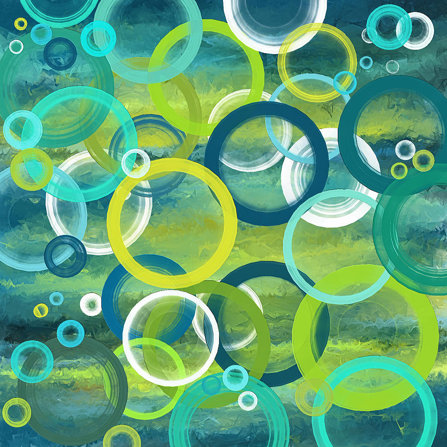 Profound Cycles Turquoise Art Painting By Lourry Legarde