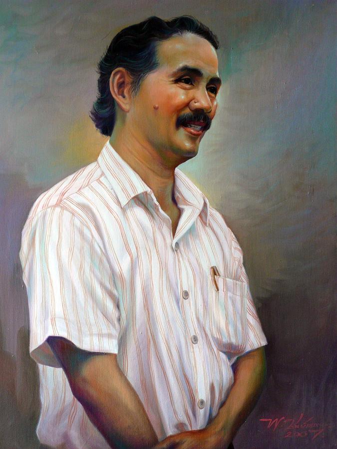 Portrait Painting - Prof.panya Petchoo by Chonkhet Phanwichien