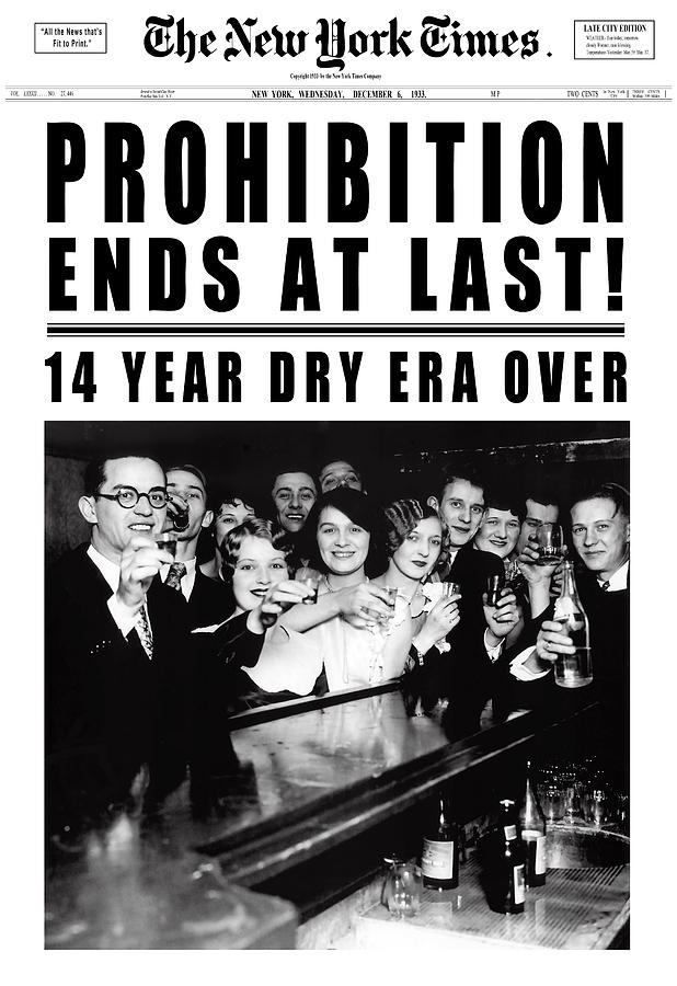 Prohibition Ends At Last Headline 1933 White Digital Art