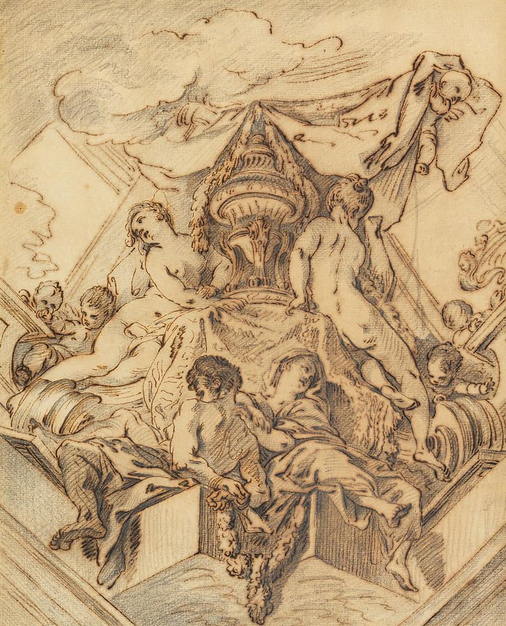 French Artist Drawing - Project For A Corner Motif Of A Painted Ceiling by Francois Boucher