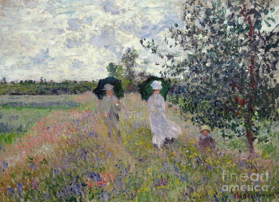 French Painting - Promenade near Argenteuil by Claude Monet
