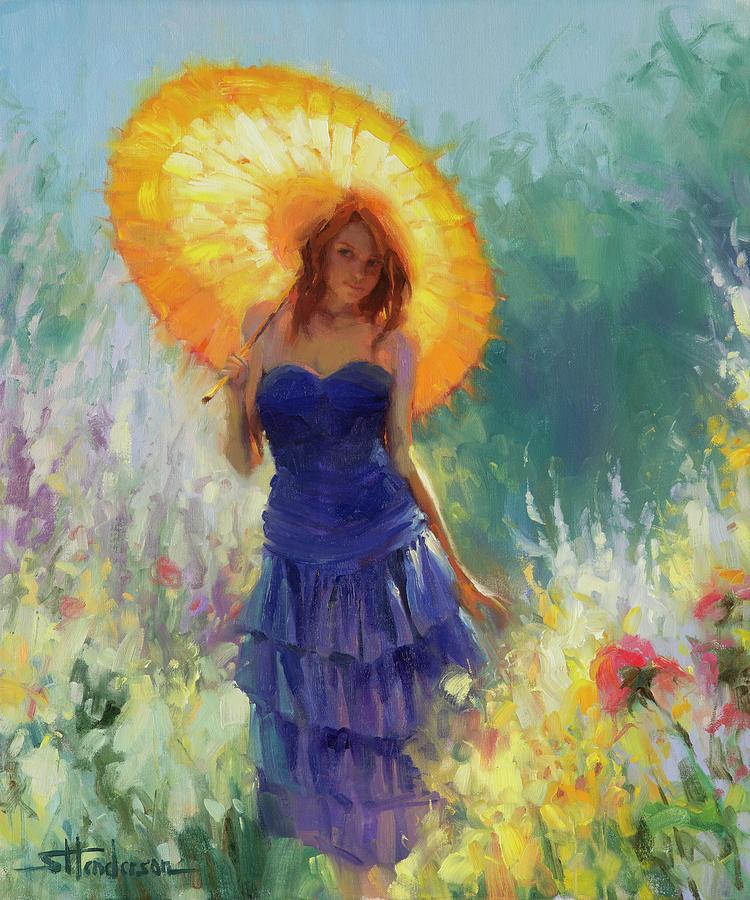 Woman Painting - Promenade by Steve Henderson