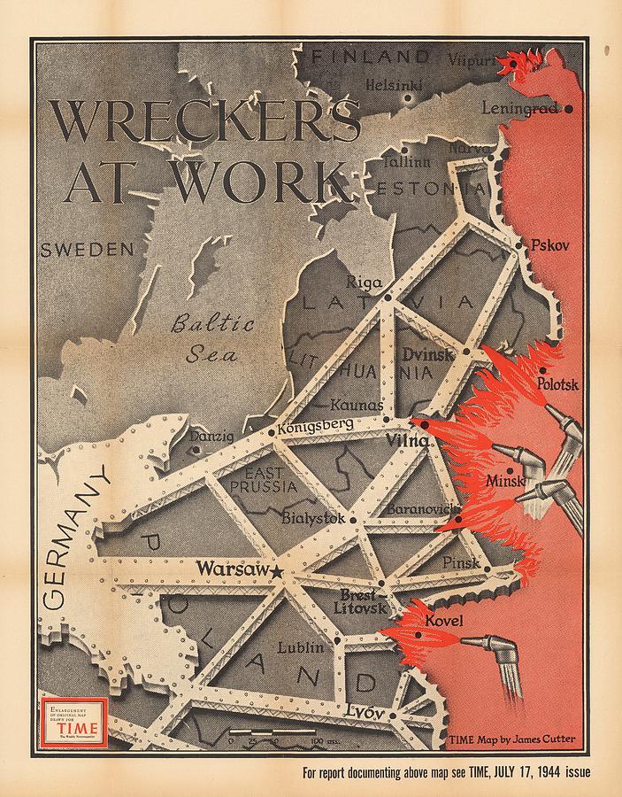 Propaganda Map Of German Domination - Baltic Region, Prussia, Poland - World War 2 - Time Magazine Drawing