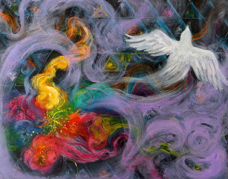 Dove Painting - Prophetic Message Sketch Painting 10 Divine Pattern Dove by Anne Cameron Cutri