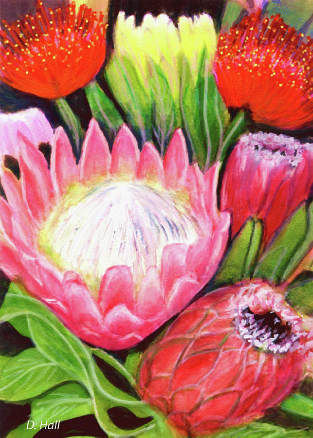 Protea Painting - Protea Flowers #240 by Donald k Hall