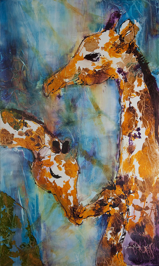 Giraffes Painting - Protection by Trish McKinney