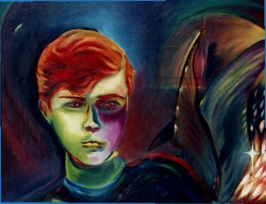 Boy Painting - Protector of the Cave by Janine Shideler