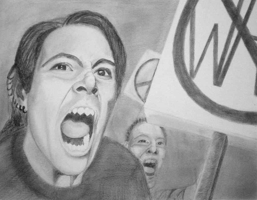 Protest Drawing - Protest by Sara Allison