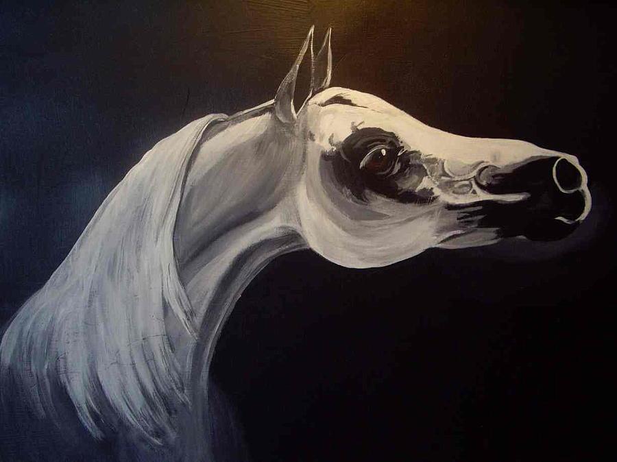 Horse Painting - Proud Arabian Stallion by Glenda Smith