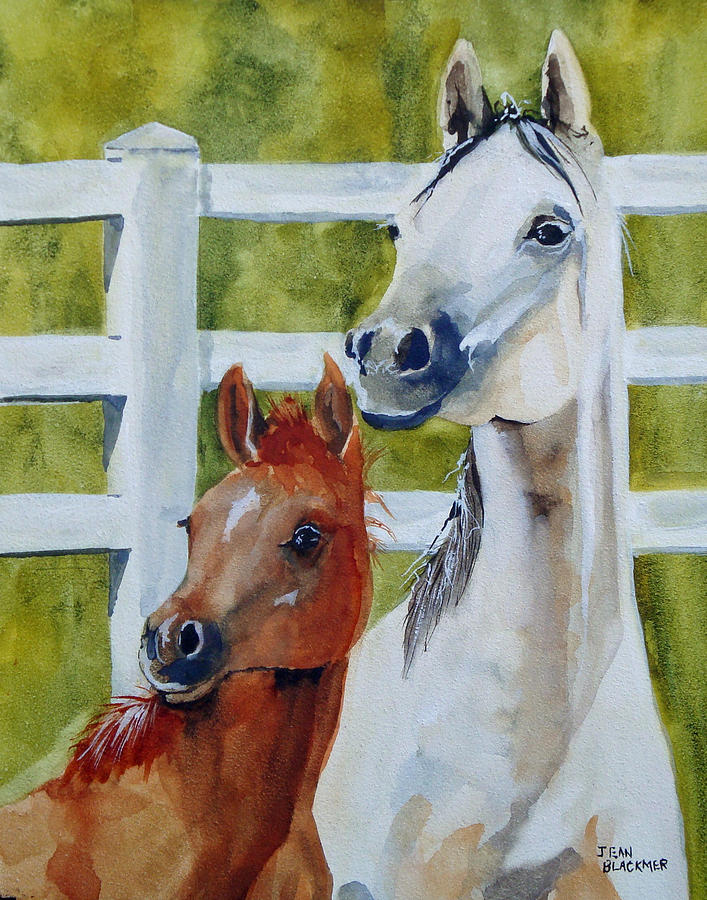 Equine Painting - Proud Mama by Jean Blackmer