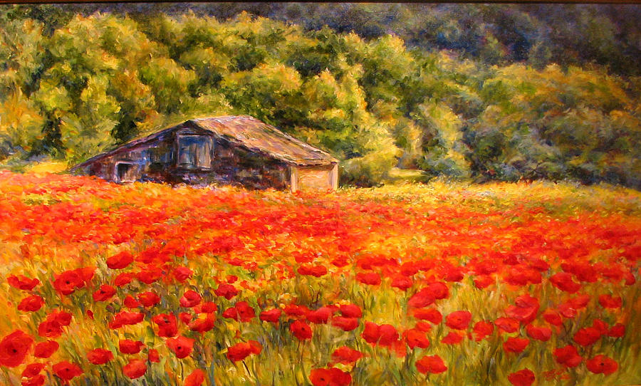Landscape Painting - Provence Farm Poppies by Linda Lee