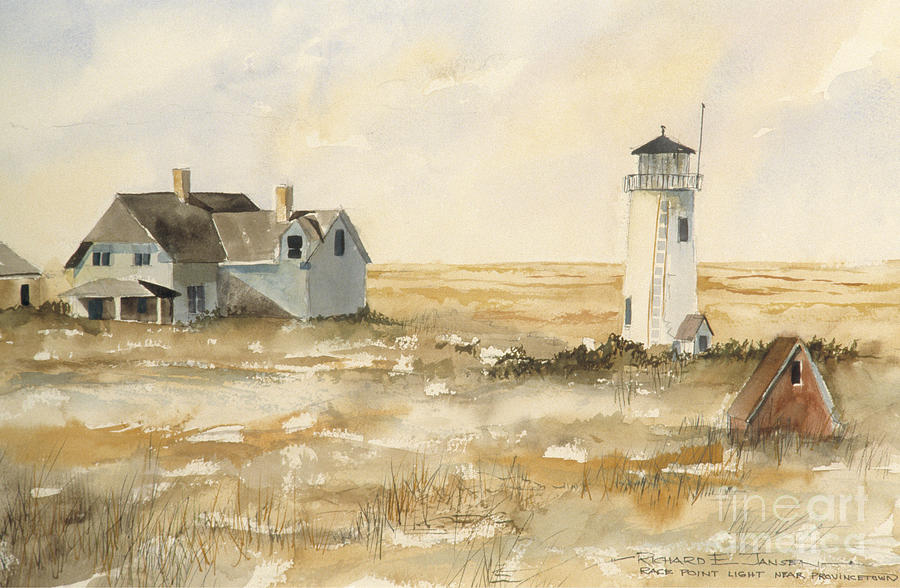 Watercolor Painting - Provincetown Light by Richard Jansen