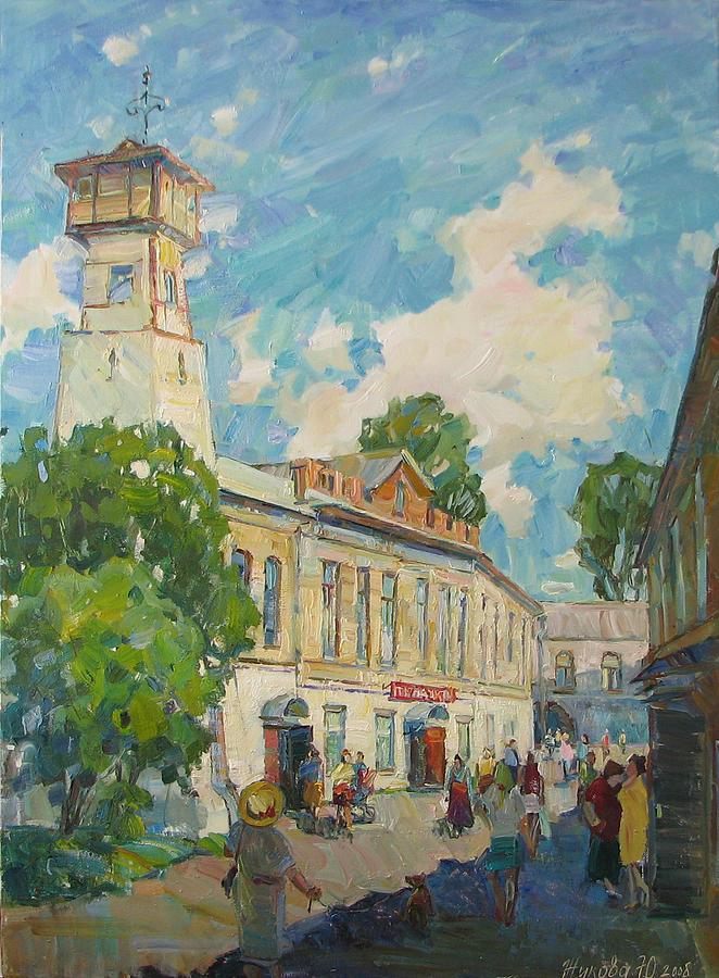 City Landscape Painting - Provincial Russian City by Juliya Zhukova