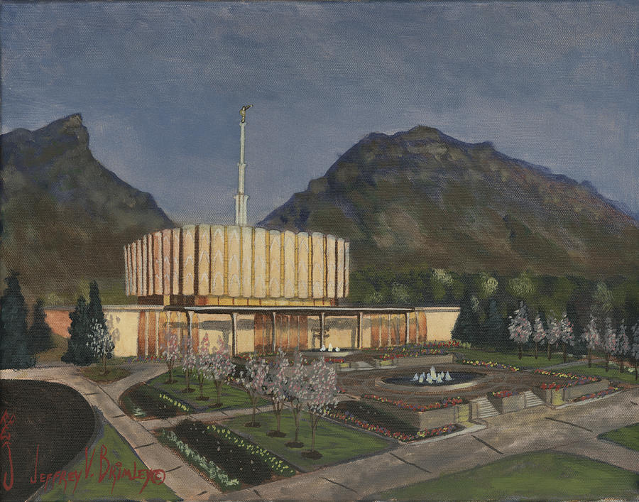 Temple Painting - Provo Spring Evening by Jeff Brimley